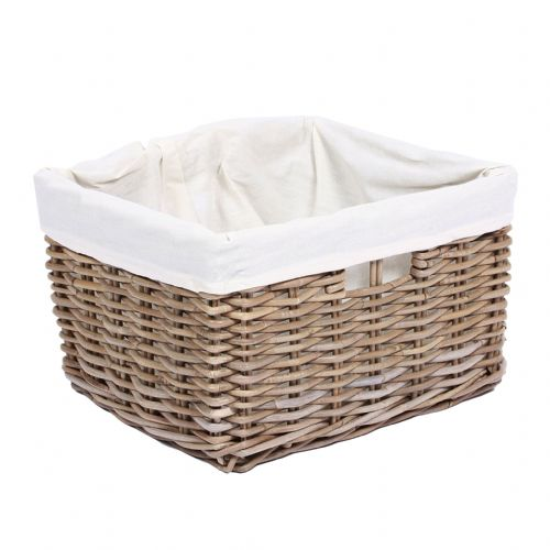 Rectangular Baskets with Hole Handles & Lining in Kooboo Grey